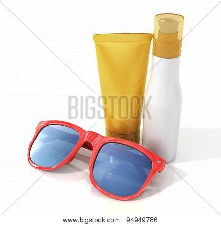 Bottles Of Suntan Cream With Sunglass Isolated On White.