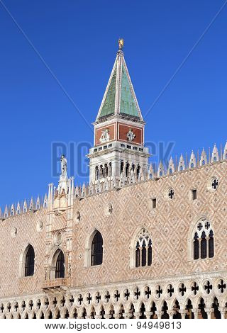 Bell Tower Of Saint Mark And Doge S Palace In Venice