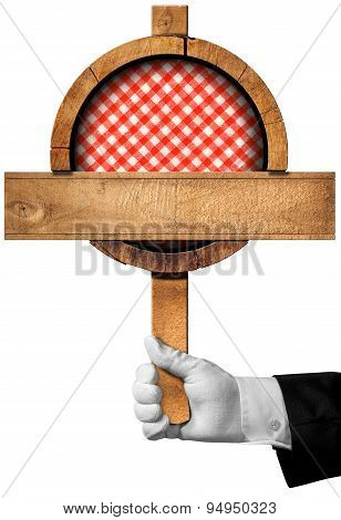 Cuisine - Wooden Sign With Hand Of Chef
