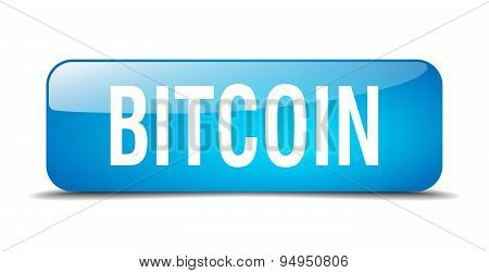 Bitcoin Blue Square 3D Realistic Isolated Web Button