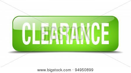 Clearance Green Square 3D Realistic Isolated Web Button