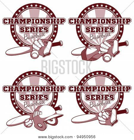 Logo For The Baseball Tournament With Elements Of Equipment. Vector Illustration On White Background