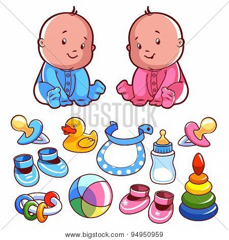 Two Toddler, With Baby Items. Vector Illustration On A White Background.