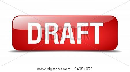Draft Red Square 3D Realistic Isolated Web Button