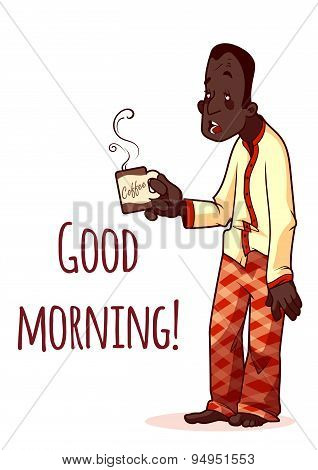 Sleepy Man With A Cup Of Coffee. Good Morning. Vector Illustration On A White Background. A4 Size.
