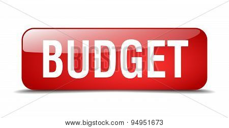 Budget Red Square 3D Realistic Isolated Web Button
