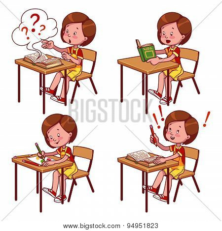 Cute Schoolgirl Behind A School Desk. Vector Illustration On A White Background.