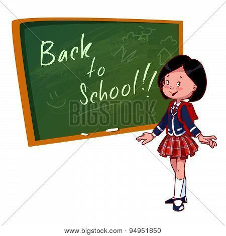 Cute Schoolgirl In Uniform Stands Near The School Board. Vector Illustration On A White Background.