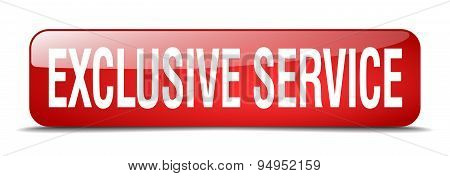 Exclusive Service Red Square 3D Realistic Isolated Web Button