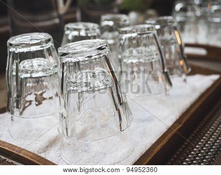Empty Glass In Tray Restuarant bar object