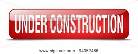 Under Construction Red Square 3D Realistic Isolated Web Button