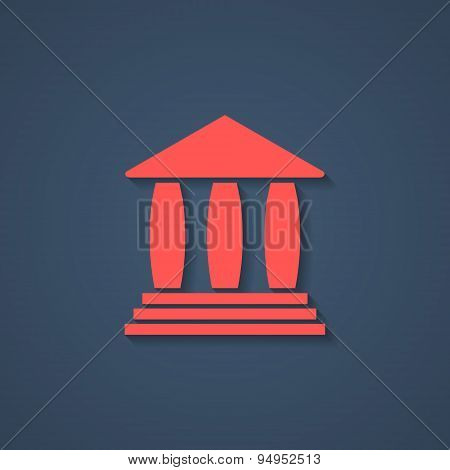 red bank or greek colonnade icon with shadow