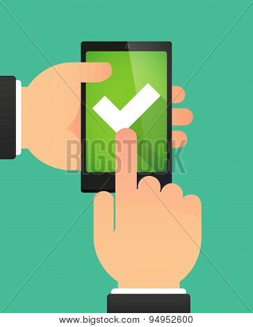 Man's Hands Using A Phone Showing A Check Mark