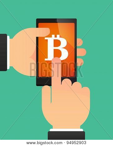 Man's Hands Using A Phone Showing A Bit Coin Sign
