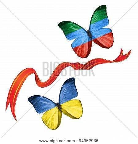 Two butterflies with symbols of Ukraine and Dagestan (Russian Federation)