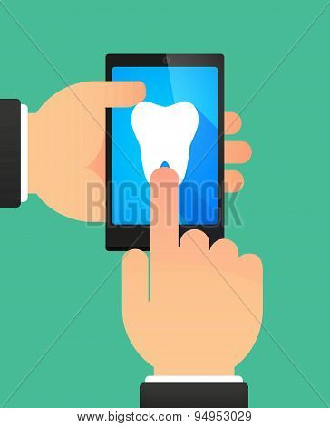 Man's Hands Using A Phone Showing A Tooth