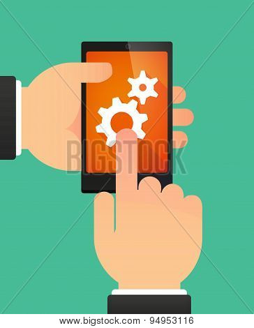 Man's Hands Using A Phone Showing Two Gears