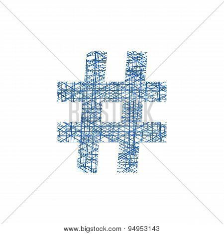blue hashtag icon in sketch style
