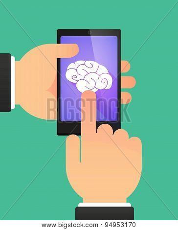 Man's Hands Using A Phone Showing A Brain