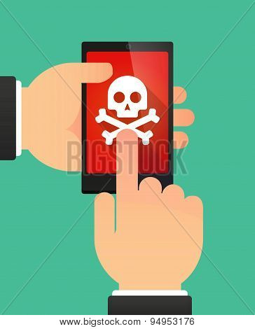 Man's Hands Using A Phone Showing A Skull