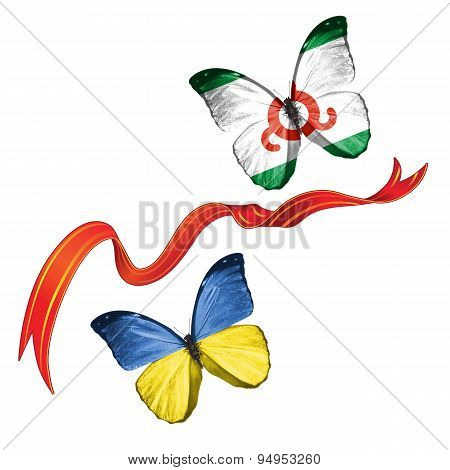 Two butterflies with symbols of Ukraine and  Ingushetia (Russia)