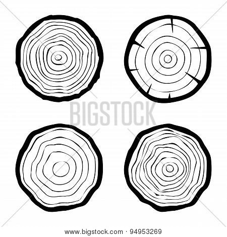 set of four tree rings icons