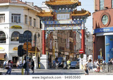 Gateway entrance to Chinatown in Antwerp