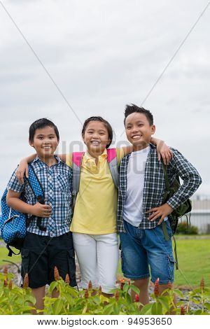Happy schoolchildren