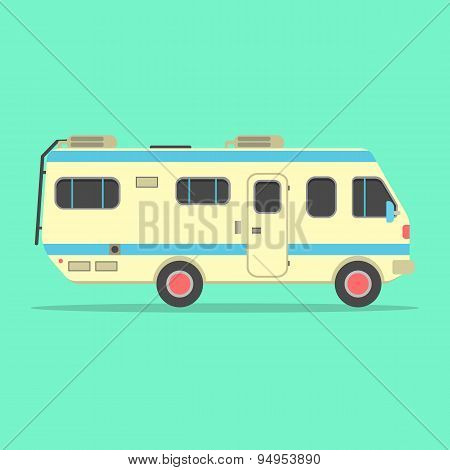 yellow travel camper van isolated on green background