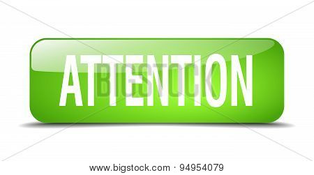 Attention Green Square 3D Realistic Isolated Web Button
