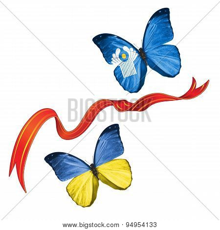 Two butterflies with symbols of Ukraine and Commonwealth Of Independent States