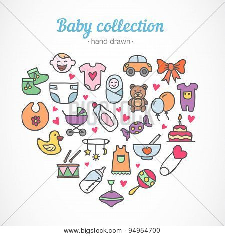Hand drawn baby icons collection: toys, food, clothes, baby staff