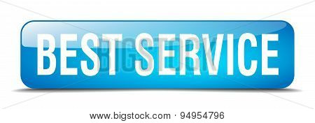 Best Service Blue Square 3D Realistic Isolated Web Button