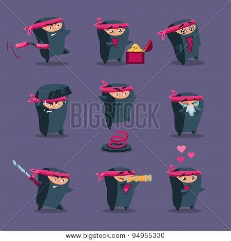 Collection of Cute Cartoon Ninja
