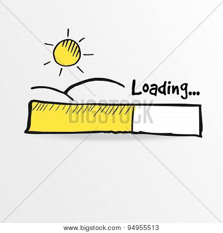 Loading Bar With Shining Sun , Summer Holiday Concept, Vector
