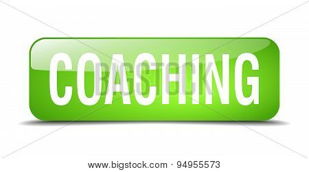 Coaching Green Square 3D Realistic Isolated Web Button