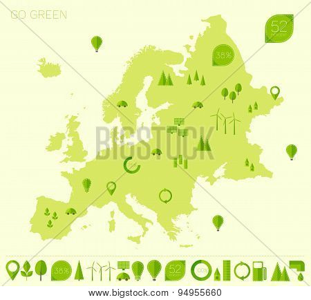 Europe high detailed map ecology green flat icons