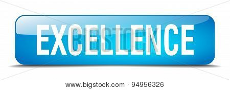 Excellence Blue Square 3D Realistic Isolated Web Button