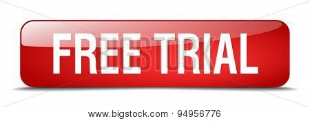 Free Trial Red Square 3D Realistic Isolated Web Button