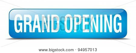 Grand Opening Blue Square 3D Realistic Isolated Web Button
