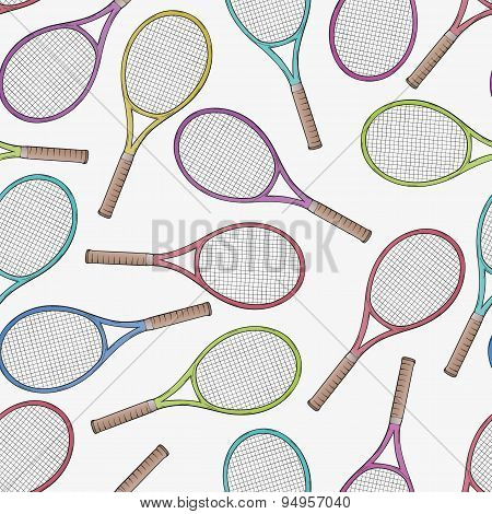 Tennis Racquets, Seamless Pattern