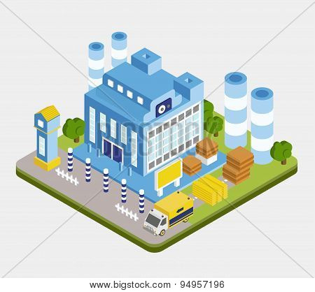 Vector Isometric Factory Building
