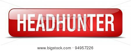 Headhunter Red Square 3D Realistic Isolated Web Button