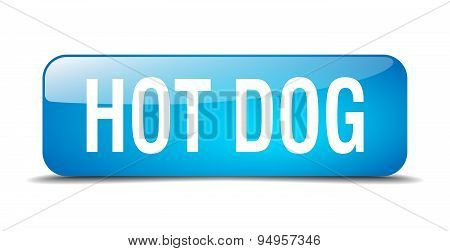Hot Dog Blue Square 3D Realistic Isolated Web Button