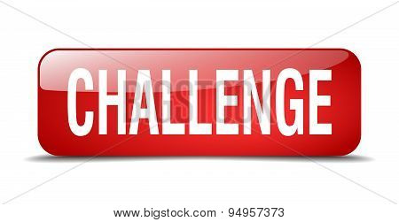 Challenge Red Square 3D Realistic Isolated Web Button