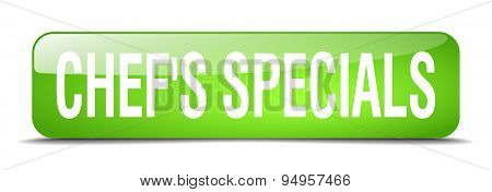 Chef's Specials Green Square 3D Realistic Isolated Web Button