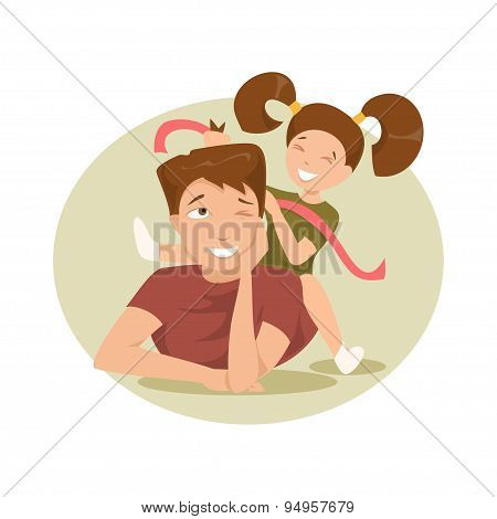 Happy Father And Daughter. Vector Illustration