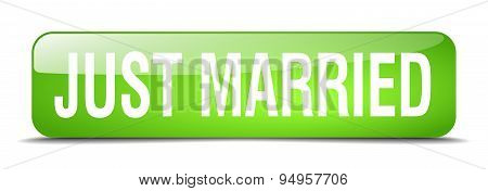 Just Married Blue Square 3D Realistic Isolated Web Button