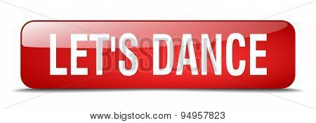 Let's Dance Red Square 3D Realistic Isolated Web Button