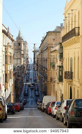 Typical Street in Valletta, Malta